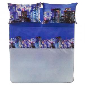 Set lenzuola matrimoniale 2 piazze CALEFFI NEON puro cotone stampa fotografica