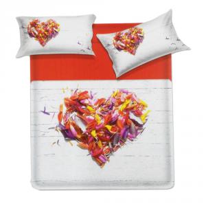 Set lenzuola matrimoniale 2 piazze Biancaluna LUZIO effetto copriletto