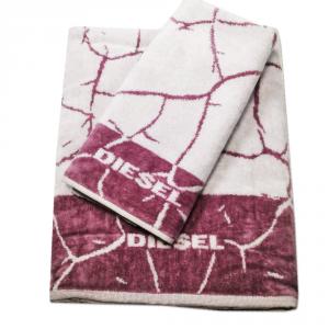 Diesel set 1+1 asciugamano e ospite CRACKLE' spugna di puro cotone - malva