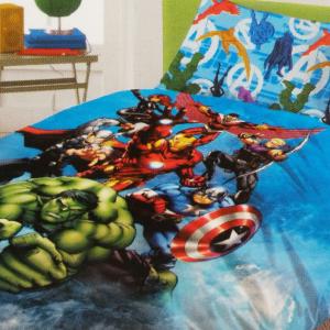 Set lenzuola letto singolo con federa Marvel AVENGERS puro cotone