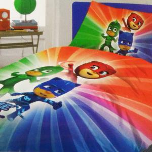Set lenzuola letto singolo con sotto e federa PJ MASKS puro cotone