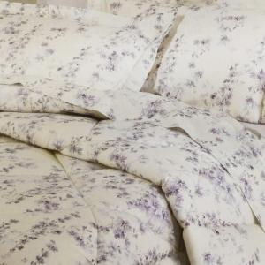 Set lenzuola matrimoniale MIRABELLO flanella MALVA fondo verde