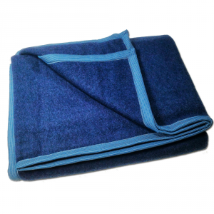 Coperta letto singolo 1 piazza SOMMA Moda 160x210 blu navy lana merino