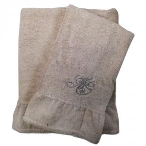 Coppia di asciugamani set 1+1 TWINSET Cherie in spugna di puro cotone beige