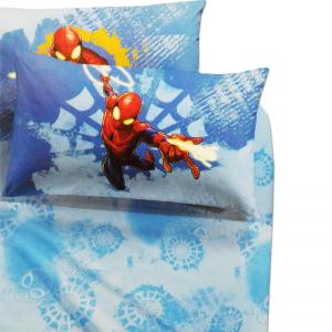Set lenzuola SPIDERMAN fluo Caleffi per letto singolo MARVEL turchese