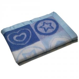 Coperta lettino bimbo SOMMA 75x100 cm Cuoricino azzurro pura lana