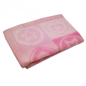 Coperta lettino bimbo SOMMA 75x100 cm Cuoricino rosa pura lana