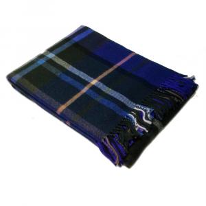 Plaid coperta con frange 130x170 cm SOMMA Kilt blu pura lana vergine