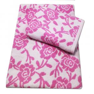 Coppia di spugne set 1+1 PRETTI Roseto jacquard  - rosa