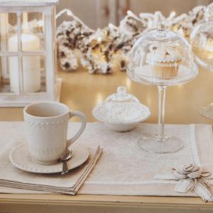 Tovaglietta colazione - sottopiatto ricamato Linea PREZIOSA HOME puro cotone beige