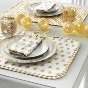 Coppia di set all'americana con tovaglioli VALLESUSA Dorè oro puro cotone