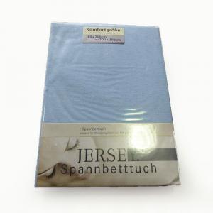 Lenzuola di cotone con angoli singole Jersey di maglina - azzurro