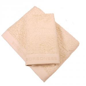 Set 1+1 coppia di spugne asciugamano e ospite Borbonese VELVET OP caramello