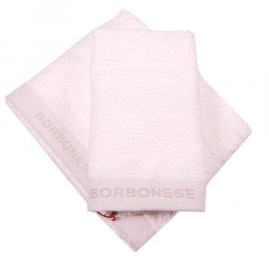 Set 1+1 coppia di spugne asciugamano e ospite Borbonese VELVET OP avorio