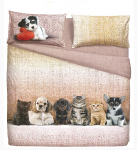 Set lenzuola letto singolo 1 piazza BASSETTI DOGS&CATS effetto copriletto