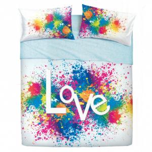 Set lenzuola matrimoniale BASSETTI LOVE IS A SPLASH effetto copriletto
