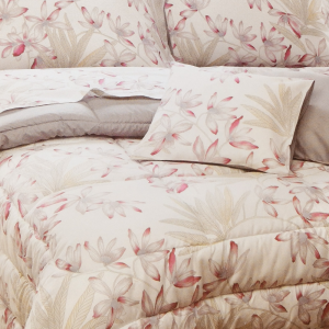 Trapunta invernale matrimoniale 2 piazze PLATINUM SATIN raso floreale rosa