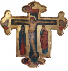 Croce dipinta di Svetlozar Mladenov 30 x 20,50 cm
