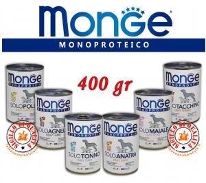 Monge Monoproteico SOLO Alimento umido per Cani Vari Gusti 400gr