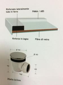 PIATTO DOCCIA RETTANGOLARE 70x100 IN RESINA  h5,5