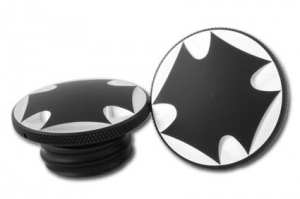 Black anodised gascap set, maltese cross