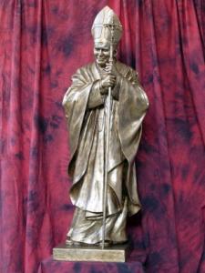 Statua S. Giovanni Paolo II cm. 165 vetroresina vuota finitura bronzo