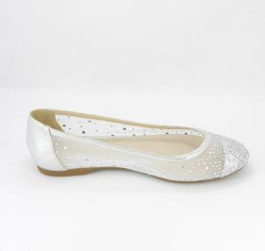Ballerine eleganti donna in tessuto rete argento con applicazione cristalli
