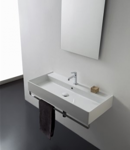 Lavabo per il bagno sospeso cm 100 x 46 Teorema 2.0 Scarabeo
