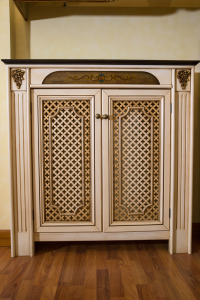 Copritermosifone classico artistico artigianale ERCOLANO in legno di noce Toulipier
