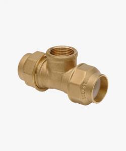 Raccordo ottone a T con filetto per tubo polietilene  Ø 20x1/2x20 mm-Ø 25x3/4x25 mm-Ø 32x1