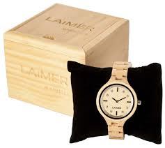 Orologio laimer in legno da donna con zirconi sul quadrante