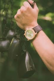Orologio legno laimer crono con cinturino in cuoio