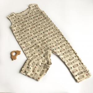 Tutina neonato smanicata di cotone biologico macchnine