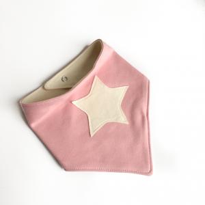 Bavaglino modello bandana stella rosa in cotone biologico