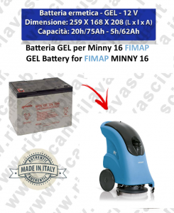 BATTERIA al GEL for MINNY 16 Scrubber dryer FIMAP