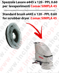 SIMPLA 45 Cleaning BRUSH  in PPL 0,60 Dimensions ø 445 X 120,4 3 pioli for scrubber dryers COMAC