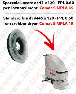 SIMPLA 45 Cepillo Standard  in PPL 0,60 Dimensiones ø 445 X 120,4 3 pioli para fregadora COMAC