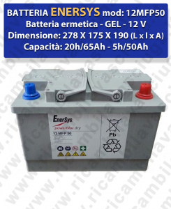 12MFP50 Hermetische Batterie - Gel 12V 65Ah 20/h für Scheuersaugmaschinen ENERSYS