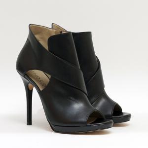 Sandalo in Pelle Nero con Tacco