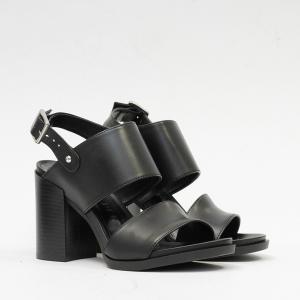 Sandalo in Pelle Nero con Fibbie