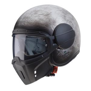 Casco jet Caberg Ghost Iron con maschera rimovibile in fibra