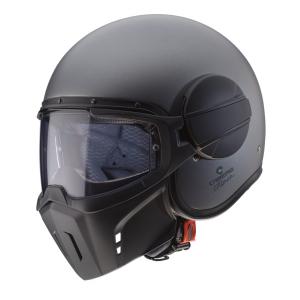 Casco jet Caberg Ghost con maschera rimovibile in fibra Antracite Opaco