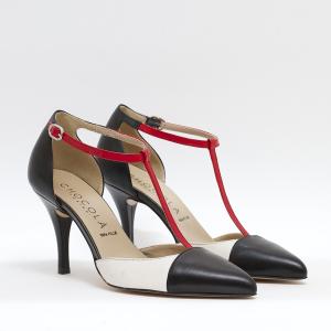 Sandalo Bianco Nero con filo rosso centrale