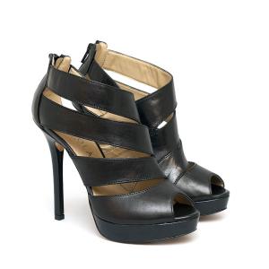 Sandalo in Pelle Nero Tacco Alto