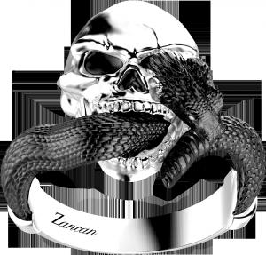 Anello uomo teschio- serpente  zancan argento