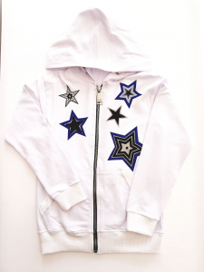 Felpa bianca con stelle blu