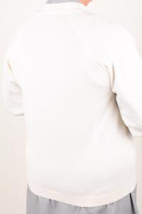 Golf scollo V in pura lana art. 8242 bianco