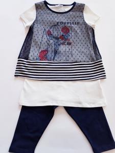 Completo bianco e blu con tulle da bambina 3 e 5 anni