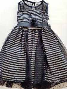 Vestito elegante a righe blu da bambina 3-6anni