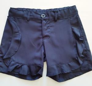 Short blu con rouches da bambina 5 e 7 anni